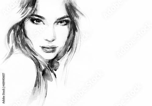 Zdjęcia na płótnie, fototapety na wymiar, obrazy na ścianę : Beautiful woman face. watercolor illustration