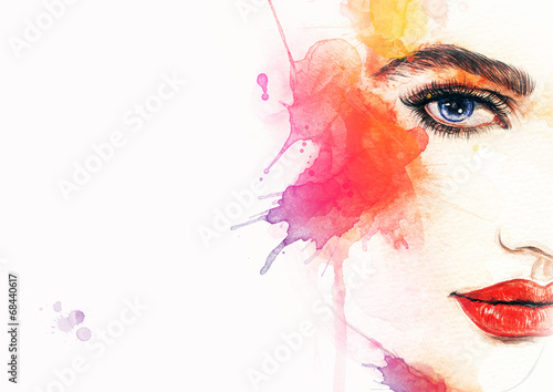In de dag Aquarel Gezicht Beautiful woman face. watercolor illustration
