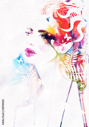 Fotobehang Aquarel Gezicht Beautiful woman face. watercolor illustration