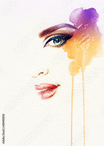 Keuken foto achterwand Aquarel Gezicht Beautiful woman face. watercolor illustration