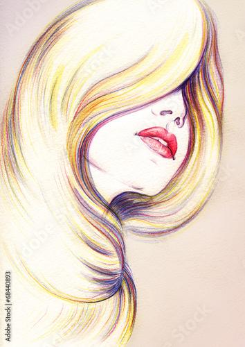 In de dag Aquarel Gezicht Beautiful woman face. watercolor illustration