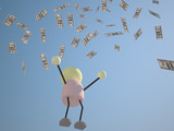 3D Character On The Coins Falling From The Sky 2