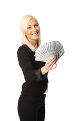 Cute woman with cash