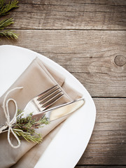 Rustic Table setting - retro photo