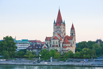 The Danube River. Church of St. Francis of Assisi. Vienna. Austr