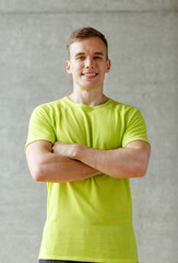 smiling man in gym