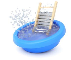 Washboard in bowl