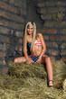 The woman in bikini on hay at a wall