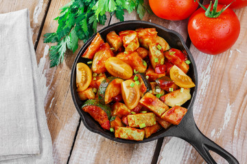 roasted squash and zucchini in tomato sauce