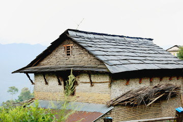 Slate roofed house in Dhampus-Nepal. 0528