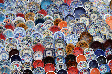 multicolor sovenir earthenware in market, Sidi Bou Said, Tunisia