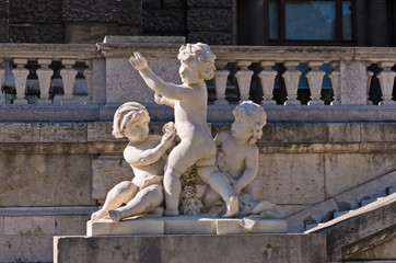 Architecture details of child play at Hofburg palace in Vienna