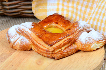 Roll from flaky pastry with apricots