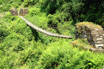 Suspension bridge on the Pitam Deurali-Tolka route. Nepal. 0554