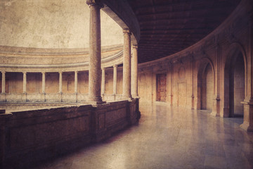 Palacio de Carlos V in Alhambra, Granada, Spain. Vintage photo