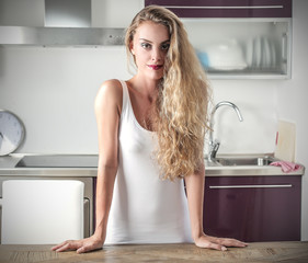 blonde girl in the kitchen