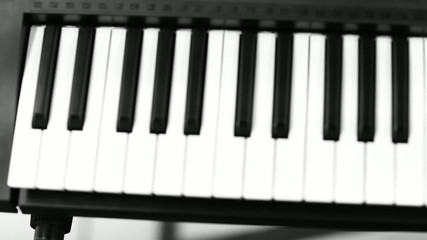 Travel music black and white piano detail