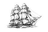 antique boat sea motive drawing handmade - 68446065