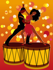 Latin couple dancing on bongos