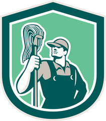 Janitor Cleaner Holding Mop Shield Retro