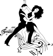 Couple dancing Latin, black and white clipart