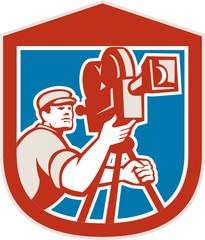 Cameraman Vintage Film Movie Camera Shield Retro