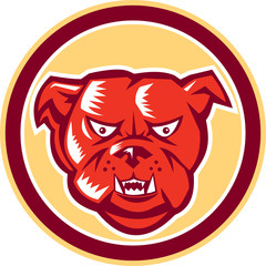 Angry Bulldog Mongrel Head Circle Retro