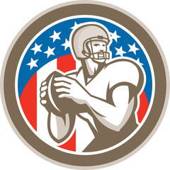 American Football Quarterback QB Circle Retro