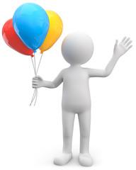 winkendes 3d Männchen mit  Luftballons