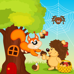 hedgehog gives squirrel mushroom - vector illustration, eps