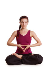 schöne Frau in Meditationpose