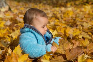 Jahreszeit Herbst: Baby sitzt im Laub und spielt mit Blätter