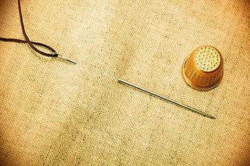 needle thread thimble retro