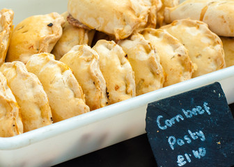 Traditional British beef pasty in the market