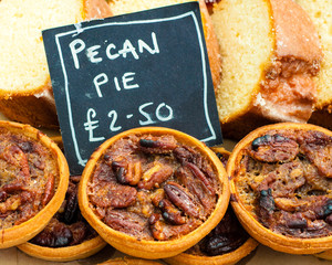 Close up shot of pecan pies in British market