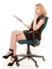 Elegant woman with tablet pc computer touchpad.