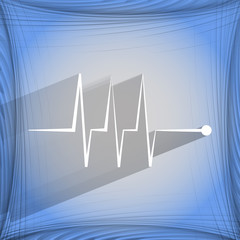 heart rhythm. Flat modern web button  on a flat geometric