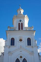 Steeple of an old colonial church in Cuenca, Ecuador