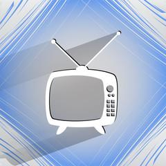 Retro tv. Flat modern web button   on a flat geometric abstract