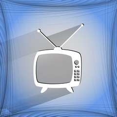 Retro tv. Flat modern web button   on a flat geometric abstract