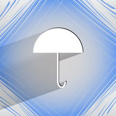 Umbrella. Flat modern web button on a flat geometric abstract