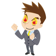 燃える若いビジネスマン