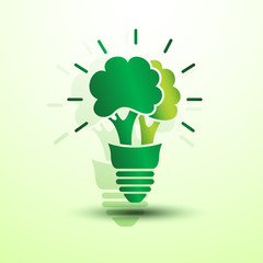 Ecology idea green bulb with tree vector illustration