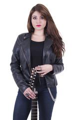 Beautiful sexy young musician girl holding electric guitar