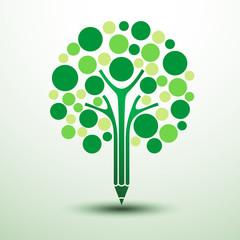 Green tree pencil creative idea,vector illustration