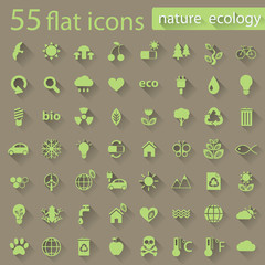 Set of nature ecology flat icons for web and mobile app