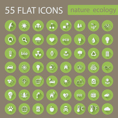 Set of ecology nature flat circle green vector icons or buttons