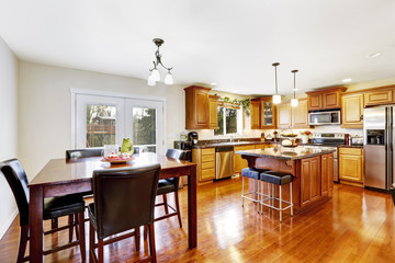 Kitchen room with dining table set