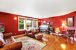 Bright red living room interior