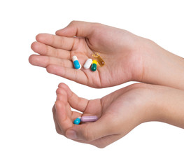 hand holding drugs